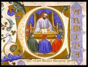 Initial depicting Boethius teaching his students from folio 4r of a manuscript of the Consolation of Philosophy (Italy?, 1385)
