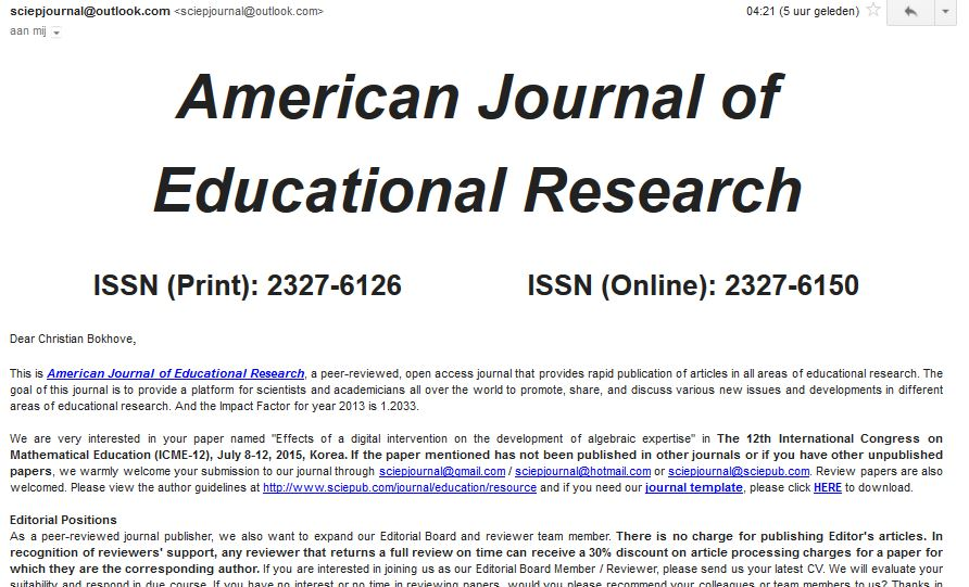 Example e-mail from a predatory journal   Christian Bokhove